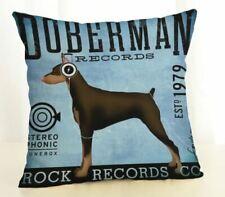 Doberman Record label earphones Dog Vintage Advertising  Cushion Cover
