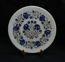 """13"""" White Marble Plate Lapis Lazuli Marquetry Floral Art Inlay Dining Decor Gift"""