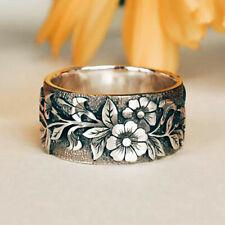 Vintage 925 Silver Flower Ring Bird Women Men Wedding Jewelry Party Size 5-12