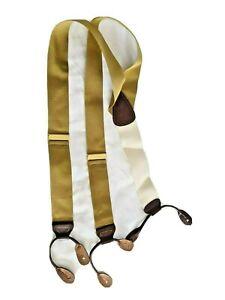 Trafalgar Braces Gold Suspenders  Leather Brace EUC