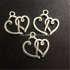 15pc Tibetan Silver Heart to heat Charm Bead Pendant accessories Findings PL573