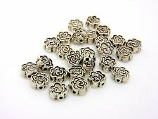 25 x 7mm Tibetan Silver Rose Flower Spacer Beads Craft Findings FREE UK P+P J119