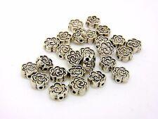 25 x 7mm Tibetan Silver Rose Flower Spacer Beads Craft Findings FREE UK P+P J119