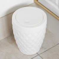 Small 5 Litre White Plastic Diamond Swing Lid Bathroom Rubbish Bin Waste Basket