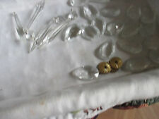 "Vintage Lot of 20 lead crystal tear drop pendants prisms 1-1/2"" lamp parts"