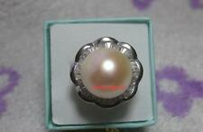 Huge AAA15mm real natural south sea white bread pearl ring 925s adjustable