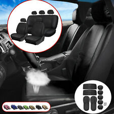 9Pcs Universal PU Leather Car Seat Cover Front & Rear Head Rests Full Set