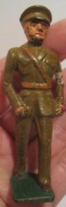 Old Unusual Cast Iron Military Figure Red Cross Officer in Uniform w/ Armband