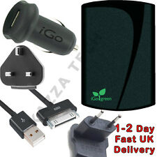 Igo Apple iPad e iPhone Reino Unido casa pared y automóvil cargador Kit UK/EU Ipod Touch 3 & 4