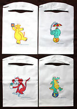 100 PACK OF DISPOSABLE PLASTIC KID'S KRITTERS BIBS 4 DESIGNS FREE SHIPPING