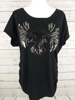 PLUS Lane Bryant Womens Sz 14 16 Black Beaded Ruched Short Sleeve T-Shirt Top