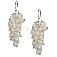 "1.5"" White Cultured Freshwater Pearl 5-6mm  Dangle Earrings"