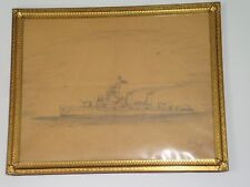 US Navy Destroyer * Crewman Folk Art Ship Drawing *