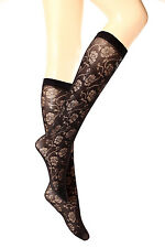 a41032249 3 Pairs Women s Ladies Knee Floral Pattern Pop Socks Black 40 DEN One size  P23