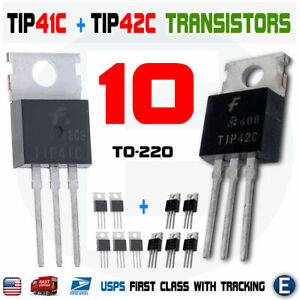 10pcs 5 x TIP41C and 5 x TIP42C Bipolar Transistor TO-220 100V 6A 65W Fairchild