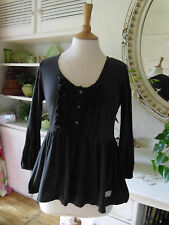 ODD MOLLY TUNIC TOP SLATE GREY MOTHER OF PEARL BUTTONS  SIZE 2