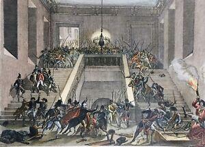 Castello Delle Tuileries Parigi IN 1793 Rara Stampa Rivoluzione Francese