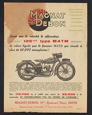 """DIJON (21) USINE de MOTOS & MOTOCYCLETTES """"MAGNAT-DEBON"""" publicité MOTO M4TM"""