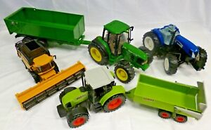 NEW HOLLAND CLAAS ERTL Farming Large Toy Job Lot Tractor Trailer Combine (W3)