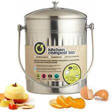 Kitchen Craft Edelstahl Küche Komposteimer Abfalleimer mit Kohlenfilter