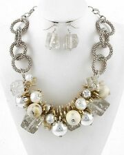 Multi Cream And Clear Lucite Bead Faux Pearl Chunky Necklace earring Set
