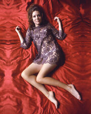DIANA RIGG LYING ON BED LATE 60'S COLOR 11X14 PHOTO