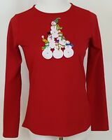 Kim Rogers Christmas Top T Shirt Size S Long Sleeve Red Snowmen Ugly