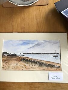 ORIGINAL watercolour Painting Mounted Bawdsey Looking Over To Felixstowe Suffolk