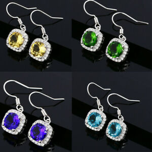925 Silver Amethyst & Emerald & White Zircon & Aquamarine Dangle Hook Earrings!!