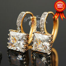 18k Gold Plated Earrings, White Swarovski Crystal, Hoop, Wedding Gift E3