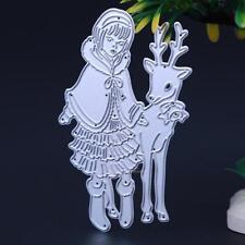 Christmas Girl Deer Metal Cutting Dies Stencil DIY Scrapbooking Album Card Decor