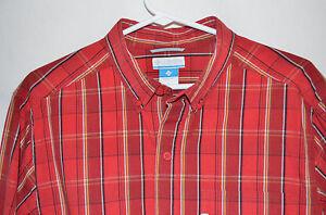 Columbia Sportswear Red Shirt Button Down Collar Long Sleeve Men's M