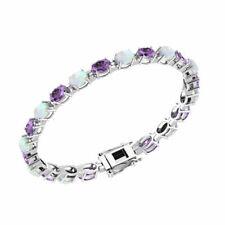 Sterling Silver Oval-shape 6x4mm Amethyst and Opal Tennis Bracelet for Women