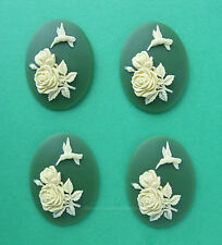 4 IVORY Color HUMMINGBIRD & ROSES on GREEN 40mm x 30mm Costume Jewelry CAMEOS