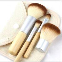 Pure Natural 4Pcs Bamboo Makeup Brush Set Brushes Travel Size Free Cosmetic Bag