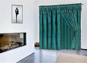 1 SET  Nada Luxury Faux Jacquard Floral Panel Window Curtain DRAPE  valance