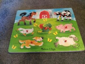 Melissa and Doug Wooden Farmyard Peg Puzzle With Sounds