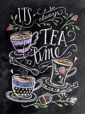 It's Always Tea Time, Vintage Retro Metal Sign Plaque, Novelty Gift, Cafe