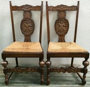 Large vintage pair of french black forest chairs 1950-60's woodwork wicker