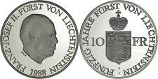 Liechtenstein: 10 Franken silver 1988 - Proof