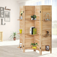 4 Panel Folding Room Divider Screen w/ 3 Display Shelves 5.6 Ft Tall White Brown