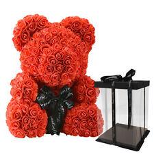 Ours Fleurs Roses Artificielles Cadeau Peluche Saint Valentin Amour Passion Neuf