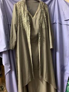 BNWT Stunning Sequin Silver Grey Ball Gown/long Dress & Sheer Over Jacket Sz 24