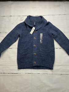 New Boy's Gap Kids Navy Blue Button Up Cardigan Sweater Med 8-9 Years NWT