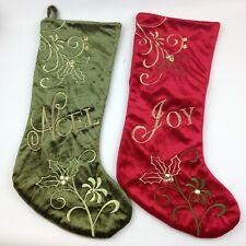 """Red """"Joy"""" and Green """"Noel"""" Velvet Christmas Stocking"""