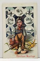Christmas Greetings Dutch Boy with Pipe and Sailboat Postcard F19