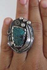 XL Sterling Silver & Turquoise Highly Ornate 16g Southwestern Ring - Size 6.5