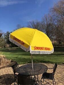 Vintage Cafe Bar Restaurant Umbrella - Yellow W/ Tassels - Gordon's Gin / Vodka