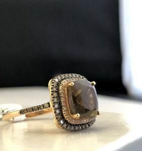 14K Rose Gold Chocolate Diamond And Quartz Ring Size