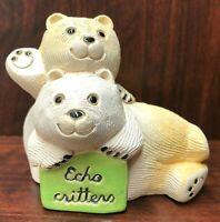 Artesania Rinconada JJC Echo Critters Polar Bears Ceramic Figurine Uruguay